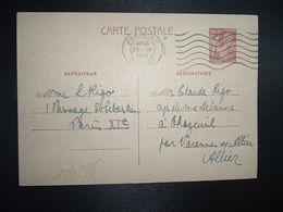 CP EP IRIS 80c OBL.MEC.25 IX 1941 PARIS RP DEPART Louise RIGO à Claude RIGO CHAZEUIL ALLIER (03) - Marcophilie (Lettres)