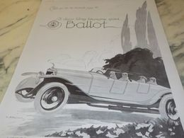 ANCIENNE PUBLICITE ON NE DISCUTE PAS VOITURES BALLOT 2 LITRES 1925 - Cars