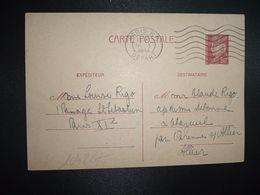CP EP PETAIN 80c OBL.MEC.30 X 1941 PARIS RP DEPART Louise RIGO à Claude RIGO CHAZEUIL ALLIER (03) - Marcophilie (Lettres)