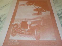 ANCIENNE PUBLICITE RAPIDE VOITURE DELAGE  1925 - Cars