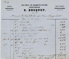 Aube - Chêne - E.Broquet - Outils D'agriculture - Horlogerie - Epicerie - Mercerie - Quincaillerie 1858 - France
