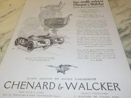 ANCIENNE PUBLICITE DOUBLE VICTOIRE AUTOMOBILE CHENARD & WALCKER   1925 - Cars