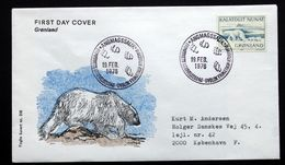 Greenland 1976 Cz. Slania    Polar Bear  MiNr.96  FDC ( Lot Ks) FOGHS COVER - FDC