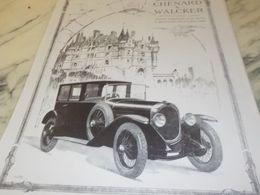 ANCIENNE PUBLICITE  VOITURE CHENARD WALCKER 1925 - Manifesti