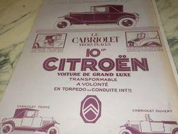 ANCIENNE PUBLICITE CABRIOLET 3 PLACES  CITROEN  1925 - Cars