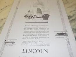 ANCIENNE PUBLICITE RAFFINEMENTS MECANIQUES VOITURE  LINCOLN 1925 - Cars