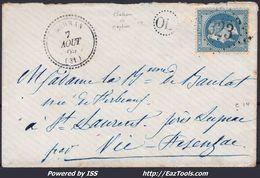 FRANCE EMPIRE N° 29A SUR LETTRE POUR ST LAURENT GC 323 BARRAN GERS + CAD PERLÉ DU 07/08/1869 - 1863-1870 Napoleon III With Laurels