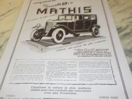ANCIENNE PUBLICITE NOVELLE 10 CV VOITURES MATHIS 1925 - Cars