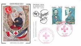FRANCE. FDC. N°208334. 7/11/2014. Cachet Paris. Croix Rouge. Infirmière Et Soldat. Signé - 2010-....