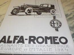 ANCIENNE PUBLICITE VOITURE  ALFA ROMEO 1925 - Cars