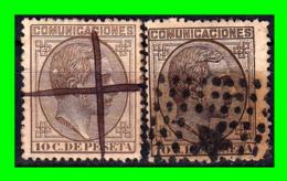 ALFONSO XII 2 SELLOS COMUNICACIONES AÑO 1878 - Usados