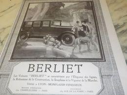 ANCIENNE PUBLICITE  ELEGANCE  VOITURE  BERLIET   1925 - Manifesti