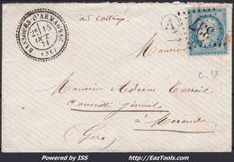 FRANCE CERES N° 60A SUR LETTRE POUR MIRANDE GC 377 BASSOUES D' ARMAGNAC GERS + CAD PERLÉ DU 15/10/1871 - 1871-1875 Cérès