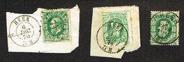 COB 30  3exemplaires : LP 174, Cachet Double Cercle, Cachet Simple Cercle  De HEER 1870, 74, 80 - 1869-1883 Leopold II
