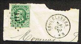 COB 30  LP 114 Avec Cachet Double Cercle ERQUELINNES 5 OCT 70 Sur Fragment - 1869-1883 Leopold II