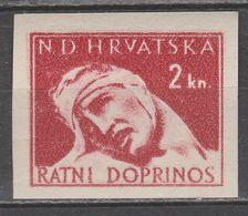 ☀ NDH Croatia Kroatien 1944 War Aid 2kn - Nice Variety DOUBLE PRINT / DOPPELDRUCK - IMPERFORATED Invalids Of War, Tax H - Kroatien