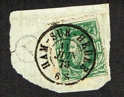 COB 30  Oblit Double Cercle HAM-SUR-HEURE 11 JUIN 73 + Cachet Boîte Rurale V (Jamioulx) Sur Fragment - 1869-1883 Leopold II