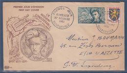 Arthur Rimbaud Enveloppe 1er Jour Charleville 27 10 51 N°910 Avec Complément D'affranchissement N°903 Franche-Comté - 1950-1959