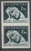 ☀ NDH Croatia Kroatien 1944 War Aid  - GREEN TRIAL COLOR, PROBE DRUCK, Green Instead Of Carmine, 2kn Ww2,impertorated H - Kroatien