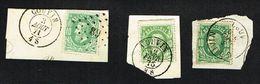 COB 30  3 Exemplaires LP 89, Cachet Double Cercle, Cachet Simple Cercle COUVIN 1871,76,80 Sur Fragments - 1869-1883 Leopold II
