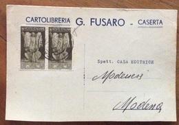 CARTOLIBRERIA G.FUSARO - CASERTA - CARTOLINA PER MODENA IN DATA 27/10/1938 - Pubblicitari