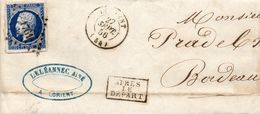 P.c.1761 LORIENT Sur N°14 I,L.A.C. Du 26/9/56.Après Le Départ. - Postmark Collection (Covers)