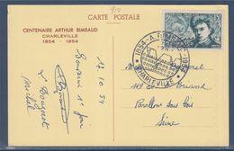 Centenaire Arthur Rimbaud Vu Par Verlaine Carte Postale Charleville 17 10 54 N°910 - FDC