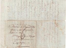 """FRANCE : MP . """" 16 SAINTES """" . POUR L' ARMEE D'ESPAGNE . 27 FEVRIER 1809 . TEXTE . - Marcophilie (Lettres)"""