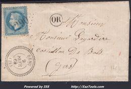FRANCE EMPIRE N° 29B SUR LETTRE POUR CASTILLON DEBATS GC 1290 DÉMU GERS + CAD PERLÉ DU 09/02/1869 - 1863-1870 Napoleon III With Laurels