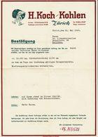 """Zürich Schweiz Suisse Rechnung Facture 1940 Deko """" H.Koch Kohlen Militärstr.52 """" - Schweiz"""