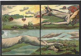 CPA Puzzle De 4 Cartes Cheval Horse équitation Circulé Voir Scan Du Dos - A Systèmes