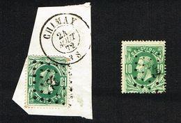 COB 30   2 Exemplaires LP 82, L'un Avec Cachet Double Cercle CHIMAY 24 AOUT 72 - 1869-1883 Leopold II
