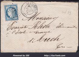 FRANCE CERES N° 60C SUR LETTRE POUR AUCH GC 4553 LA SAUVETAT + CAD DU 18/12/1875 - 1871-1875 Cérès