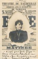 CARTE 1902 THEATRE DU VAUDEVILLE - Entertainers