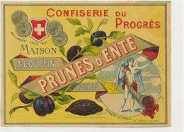 AN 1058 / ETIQUETTE  -  CONFISERIE DU PROGRES  PRUNES D'ENTE   MAISON A COUFFIN   PARIS - Fruits & Vegetables