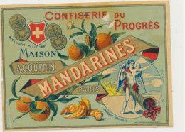 AN 1059 / ETIQUETTE  -  CONFISERIE DU PROGRES   MANDARINES   MAISON A COUFFIN   PARIS - Fruits & Vegetables