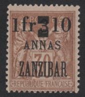 Faux Timbre Zanzibar N° 61 1 Fr Et Dix Sur 3 Annas Sur 30 C Sage Gomme Charnière - Unused Stamps