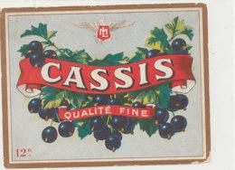 AN 1077 / ETIQUETTE   -  CASSIS   QUALITE   FINE  L M - Etichette
