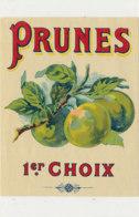 AN 1079 / ETIQUETTE   - PRUNES  1er CHOIX - Frutta E Verdura