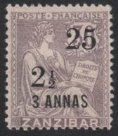 Faux Timbre Zanzibar N° 65 25 C Et ½ Sur 3 Annas Sur 30 C Sage Gomme Charnière - Unused Stamps