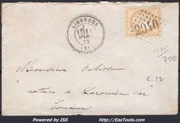 FRANCE CERES N° 59 SUR LETTRE POUR CONDOM GC 2040 LIGARDES + CAD PERLÉ DU 11/03/1873 - 1871-1875 Cérès
