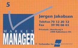 Denmark, P 254, Visiting Card, Market Manager, Jørgen Jakobsen Mint, Only 600 Issued, 2 Scans - Danemark