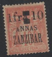 Faux Timbre Zanzibar N°62 1 F ET 10 SUR 4 A 40 C Sage Gomme Charnière - Unused Stamps