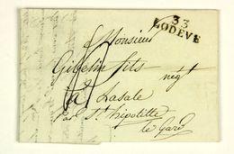 LAC 1816  Lodeve Pour St Hippolyte Du Gard En Port Du, Taxe 4 Decimes - 1801-1848: Precursores XIX