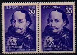 Romania 1956, Scott 1121, MNH Pair, Iancu De Hunedoara - Unused Stamps