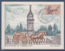 Journée Du Timbre 1963 Char Romain N°1378 Mézières 16.3.63 Sur Carte Postale - Tag Der Briefmarke