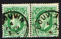 30 En Paire, Oblitération Simple Cercle COUVIN - 1869-1883 Leopold II
