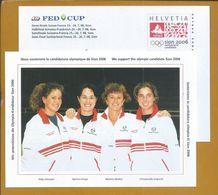 Postal Stationery Switzerland's Candidacy Sion 2006. Tennis Players. Patty Schnyder. Martina Hingis. Melanie Molitor. - Winter 2006: Torino