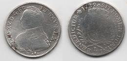 + FRANCE   + 1/2 ECU 1729 L    + - 1715-1774 Louis XV Le Bien-Aimé