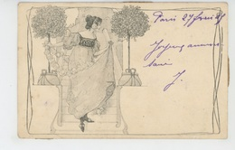 FEMMES - FRAU - LADY - Jolie Carte Fantaisie Viennoise ART NOUVEAU Femme Avec Guirlande De Fleurs - M.M. VIENNE N°75 - Femmes